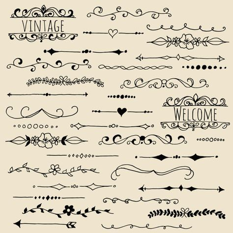 Text Dividers Clipart Set, Hand Drawn Text Divider Clip Art, Page Divider Clipart, Chalkboard Text Divider PNG, Vector, Digital Download