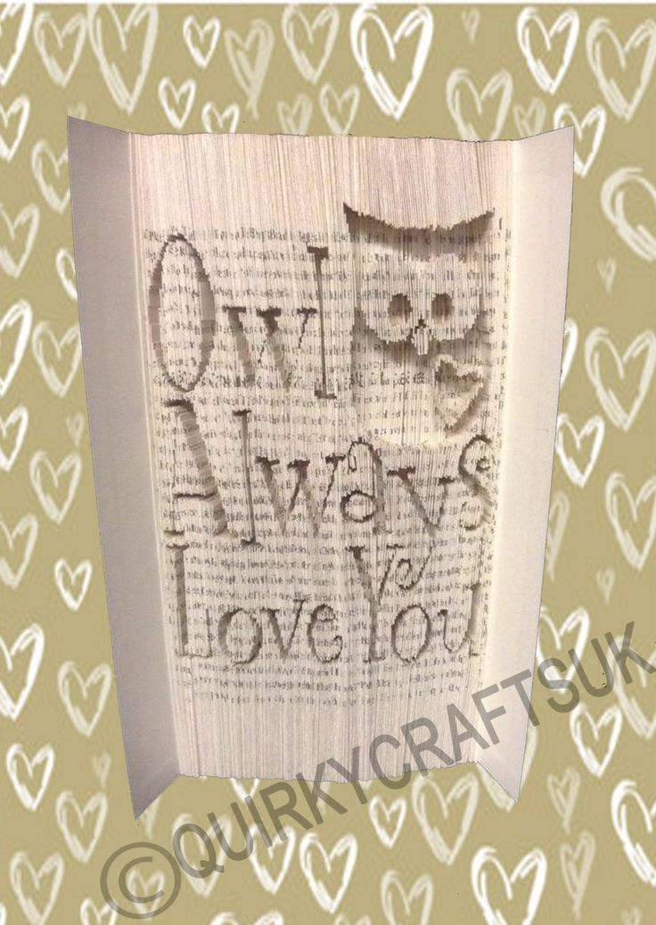 Owl always love you - Cut and Fold method book folding pattern - 399 pages - Instant download plus FREE tutorial! by QuirkyCraftsUK on Etsy