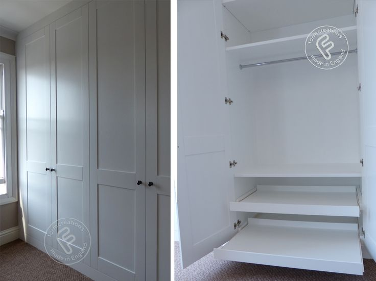 This full wall shaker style wardrobe was fitted in a top floor flat at a property in Islington N1. Comprising of hanging space both short and long, shelving, pull out shoe shelves and space for...