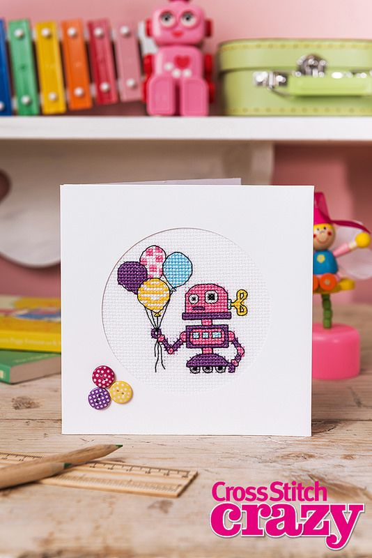 Robot Cards Cross Stitch Crazy  Issue 202 May 2015 Zinio Saved