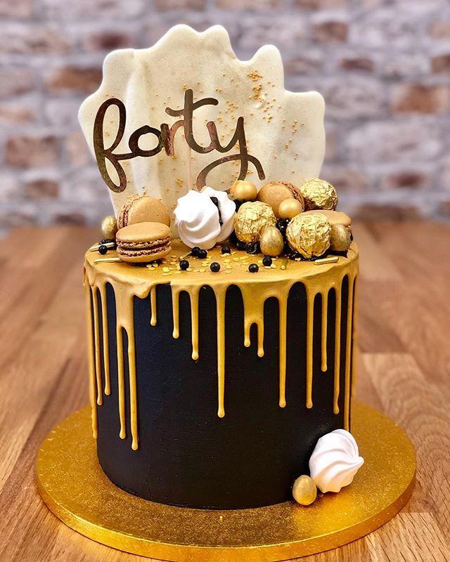 Black Gold 40th Birthday Drip Cake With Images Birthday Drip