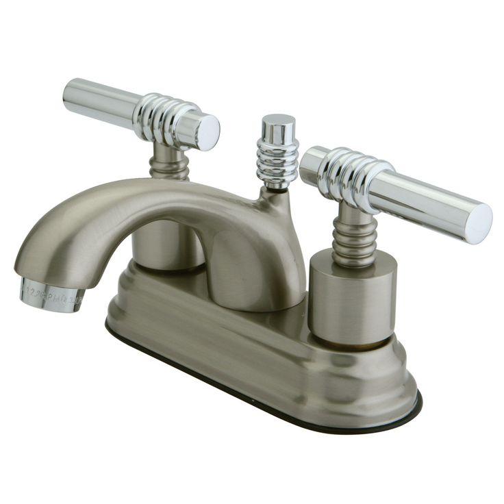 "Kingston Satin Nickel/Chrome 4"" Centerset Bathroom Faucet w Pop-up KS2607ML"