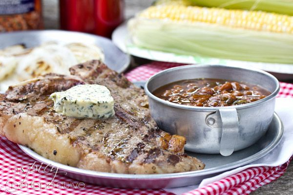 Porterhouse Steaks with Compound Butter via @Sommer | A Spicy Perspective