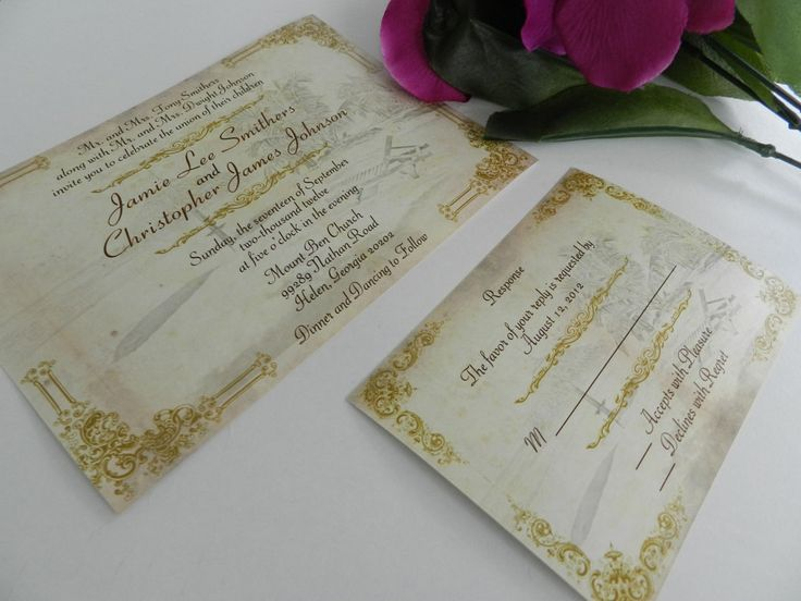 Vintage Pocketfold Beach Wedding Invitations By MyMemorableDesigns