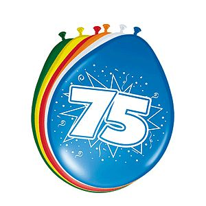 Vrolijk gekleurde ballonnen 75 jaar voor een 75ste verjaardag. Deze gekleurde ballonnen hebben een opdruk met het cijfer 75 en zijn verpakt per 8 stuks. Formaat: 30 cm.