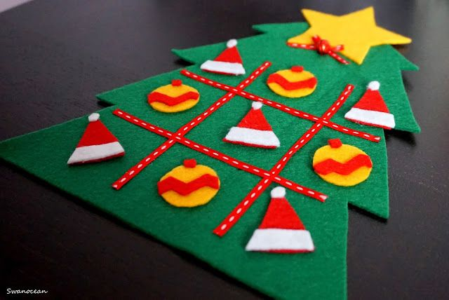 Swanocean: Felt Christmas tic tac toe-Τσόχινη Χριστουγεννιάτικη τρίλιζα