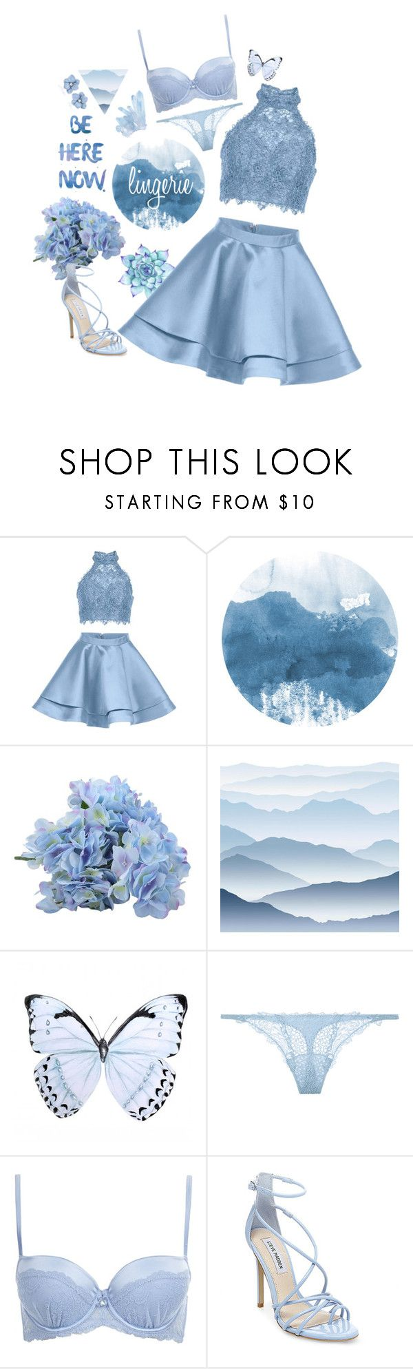 """Baby blues"" by elizabeth-giess ❤ liked on Polyvore featuring Alyce Paris, York Wallcoverings, La Perla and Steve Madden"