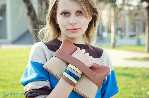 Brown clutch CarryMe vegan leather by GoodMoodMoon on Etsy