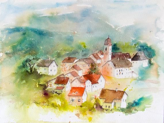 Small Village In France Watercolor French Village Watercolour