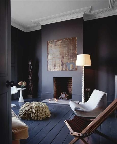"""""""To me, the whimsical and eclectic nature of the furniture work perfectly with the elaborate crown moulding detail you see on this ceiling. The dark grey w"""