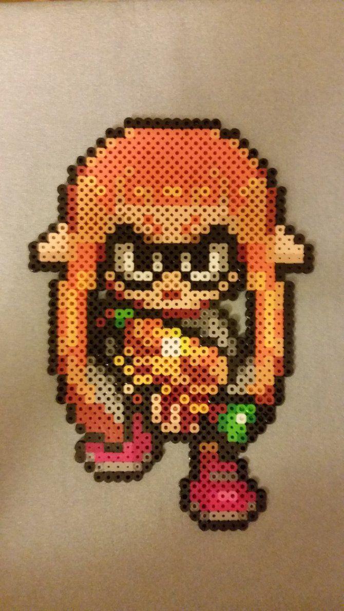 Splatoon: Inkling Girl Perler beads by jrfromdallas
