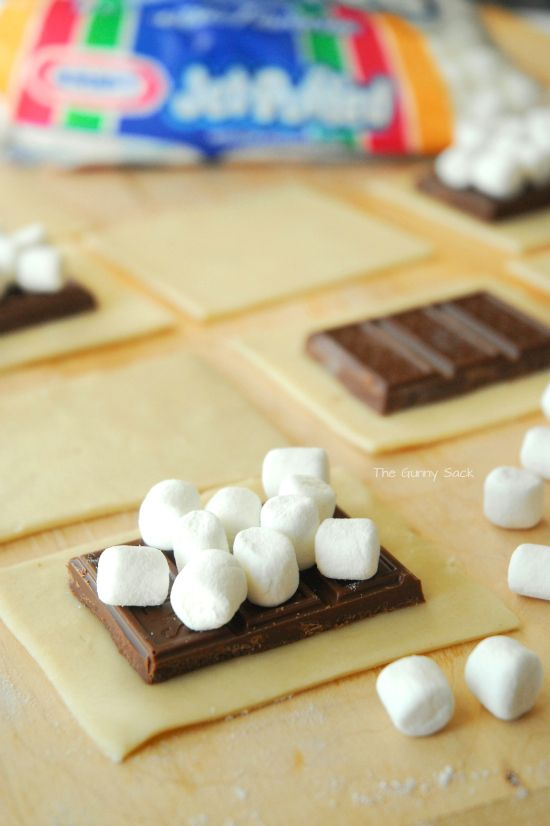 Jet Puffed Mini Marshmallows S'mores Pillsbury pie crust. Could add graham crackers too.