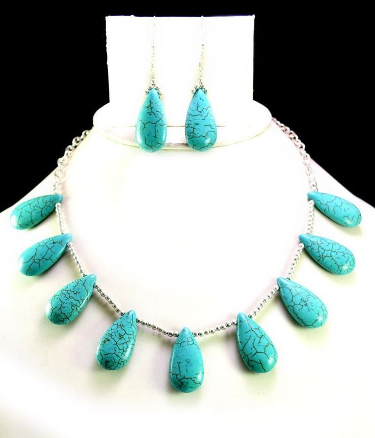 248ct Natural Semi Precious Blue Turquoise Designer Beads Necklace with Earrings #Handmade #Choker