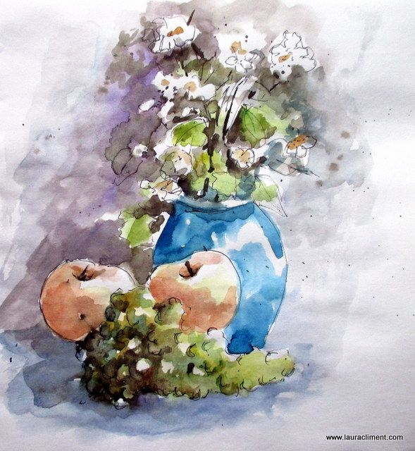 Still life of flowers and fruits (Watercolor).