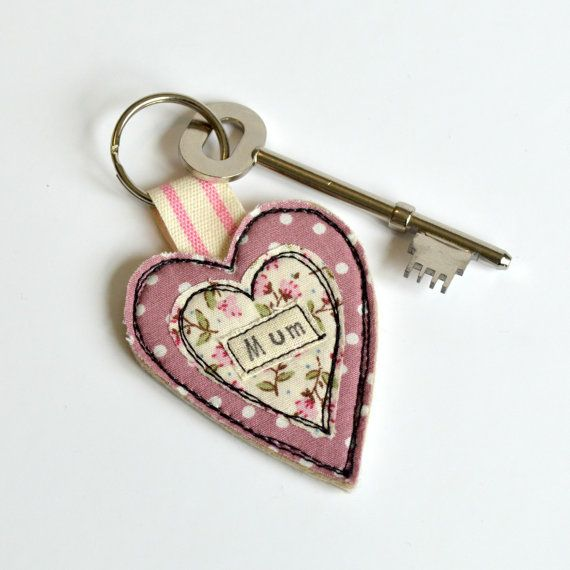 Llavero de la mamá rosa corazón corazón en forma de llavero