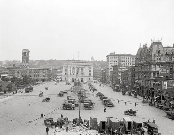 Providence, Rhode Island, 1900.Exchange Place - Kennedy Plaza, Providence, RI . Rhode Island art print, Providence photo.