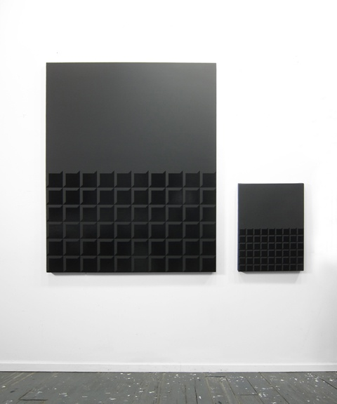 Matt Mignanelli Double Entendre I and II 2013 Gloss and matte black enamel on canvas 56 x 46 inches (142 x 117 cm) 32 x 24 inches (81 x 61 cm)
