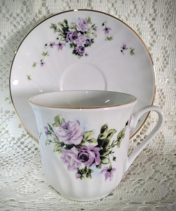 Timeless Rose Teacups Includes 6 Tea Cups and 6 Sa…