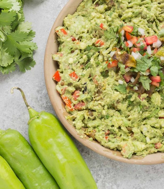 Hatch Chile Guacamole    Nutrition Information  Serves:12 servings    Serving Size:about ⅓ cup Calories:80   Fat:7 g Carbohydrates:6 g Sodium:100 mg Fiber:4 g Protein:1 g