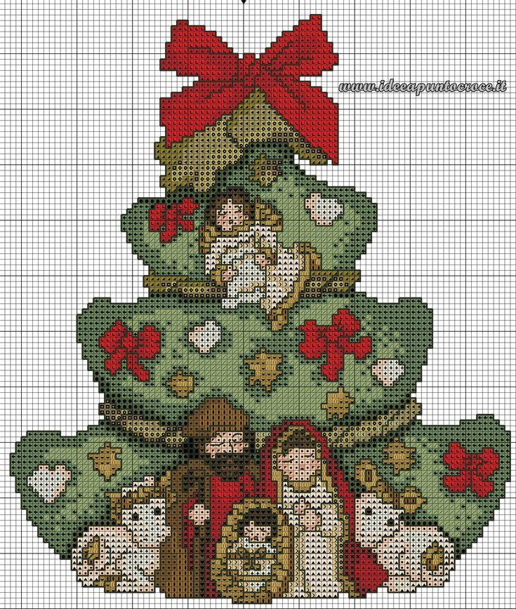 schema punto croce albero natale thun
