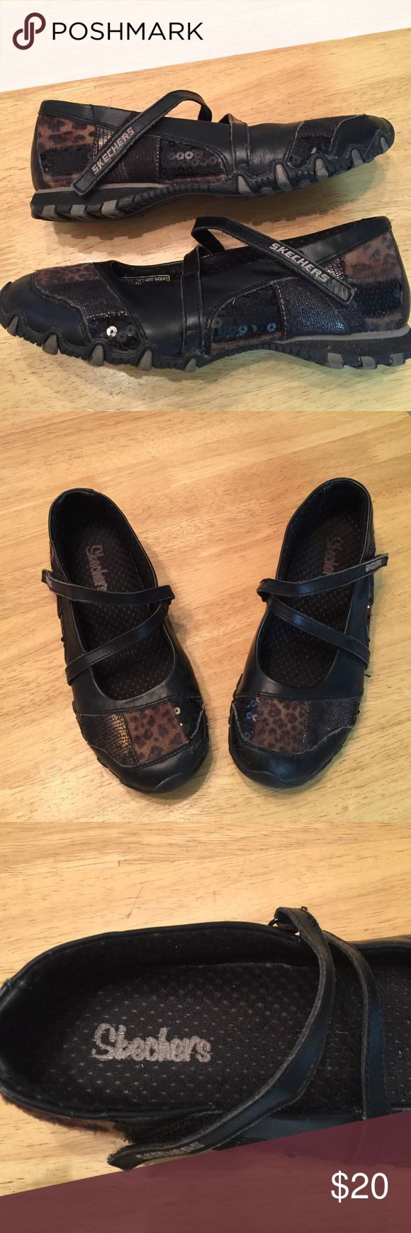 Skecher Mary Janes Skecher Mary Janes with SEQUINS and leopard print patches. Adjustable Velcro straps. These have some wear on them but truly in EXCELLENT condition ❤️❤️❤️. These are size 6 Skechers Shoes Flats & Loafers
