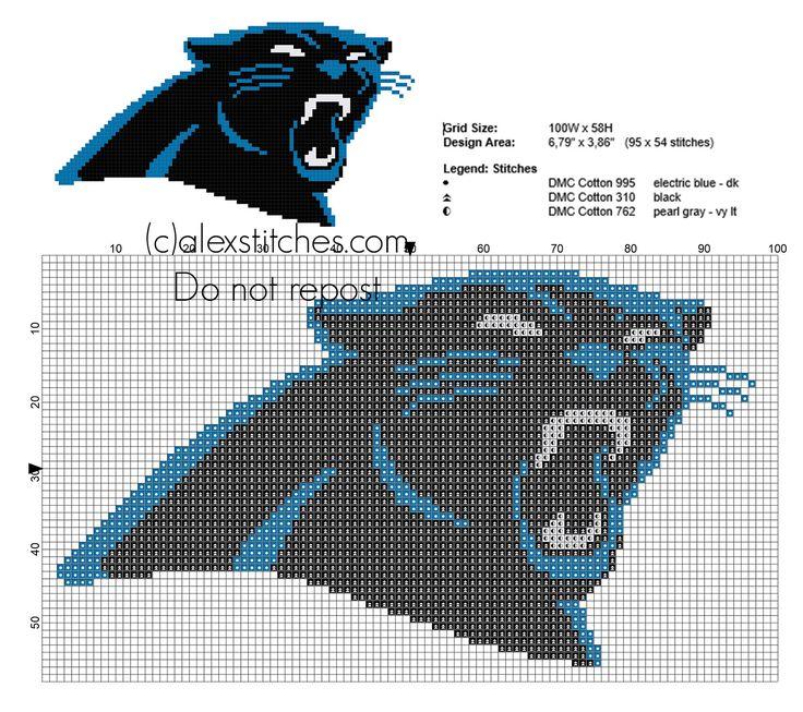 Carolina Panthers logo free cross stitch pattern National Football League NFL