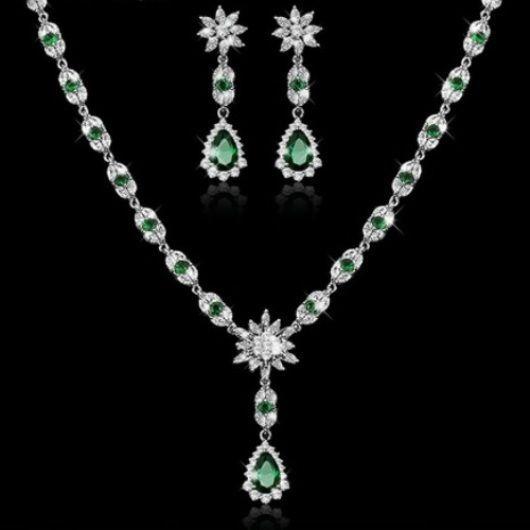 Jewelry Necklace Crystal Wedding Rhinestone Set Women Fashion Pendant Hot Silver #Unbranded