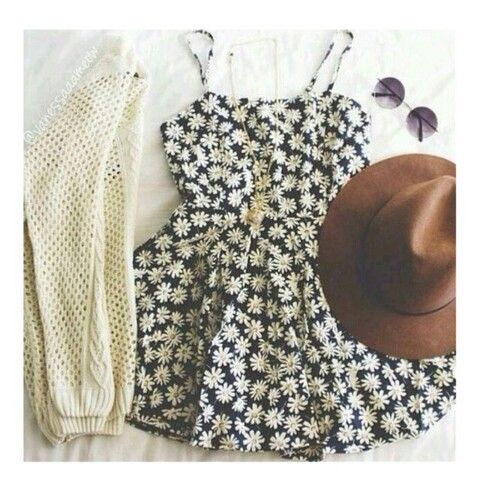 I am crazy about this dress cardigan, and necklace... The hat and glasses just aren't my style