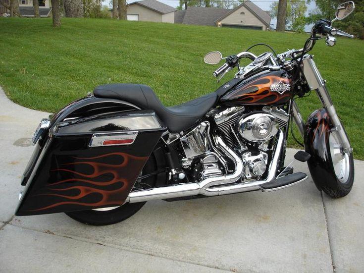 Grey Leather Saddlebags For  Harley Davidson Fatboy