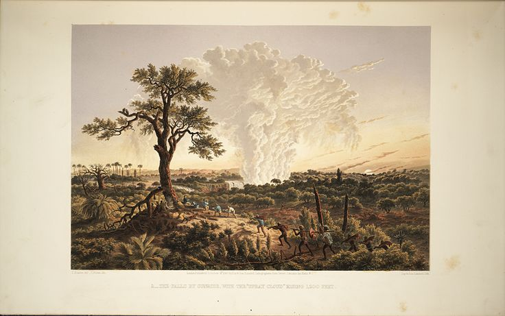 In 1862 British artist and explorer Thomas Baines visited the Falls and created lushly rendered paintings of the site. These works were exhibited, published as chromolithographs, and made into lantern slides.,  Image number:SIL28-274-01