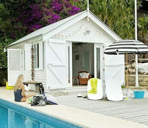 Pool house out of a simple shed from Home Depot. It just needs a little patio / cover outside the barn doors. really?!