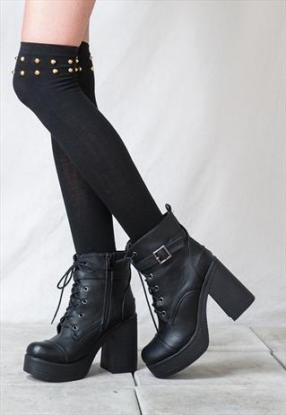 90s lace up grunge punk rock platform ankle boots style 3