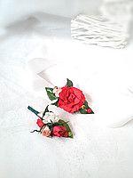Свадебная красная бутоньерка и бутоньерка на руку для невесты или подружек невесты