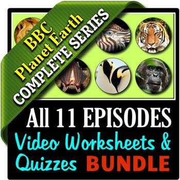 """This bundle contains 11 Editable Video Question Worksheets and 11 Editable Video Quizzes with Answer Keys for each episode of BBC - Planet Earth series narrated by David Attenborough.  Having the worksheets and quizzes to every episode will turn your simple """"nature video"""" lessons into rich educational experiences that keep students attentive, engaged and accountable.***************************************************************************TEACHERS WHO HAVE USED THIS PRODUCT HAVE SAID…"""