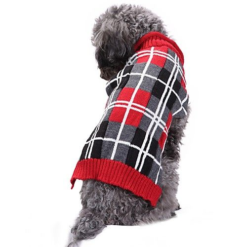 Cat Dog Costume Coat Sweater Dog Clothes Casual/Daily Keep Warm Wedding Halloween Christmas New Year's Plaid/Check British Geometic Gray 2018 - $9.34