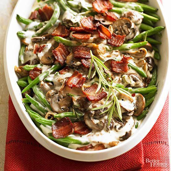 Studded with cremini mushrooms and chopped bacon, our green bean casserole recipe is a hearty upgrade from the classic. Fresh rosemary brings sophisticated flavor to this wholesome favorite.  /