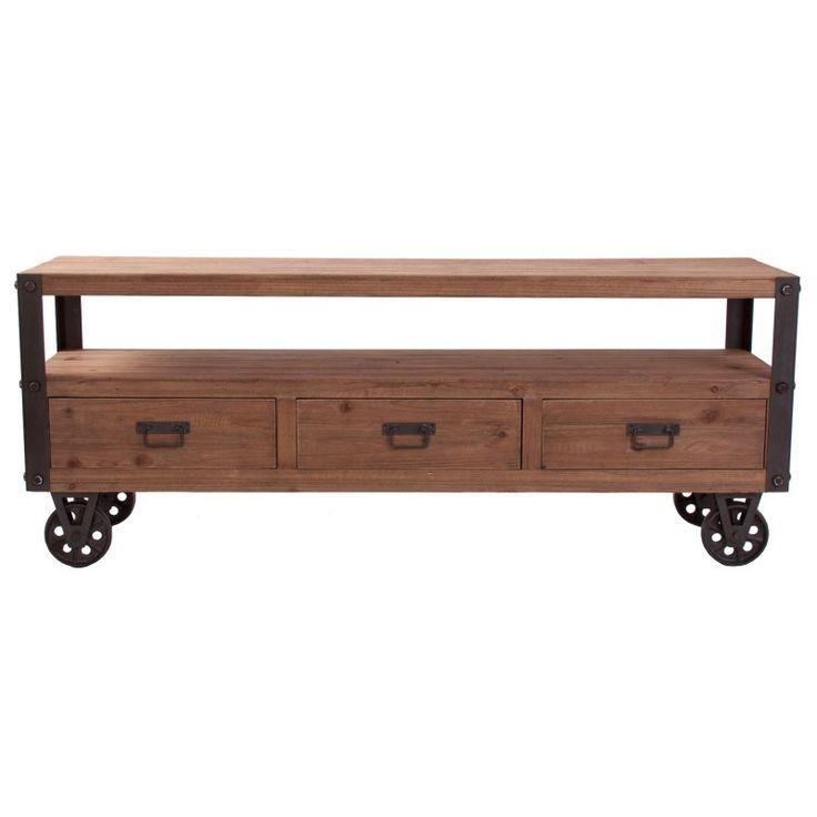 Mueble de televisión estilo Industrial, con ruedas metálicas