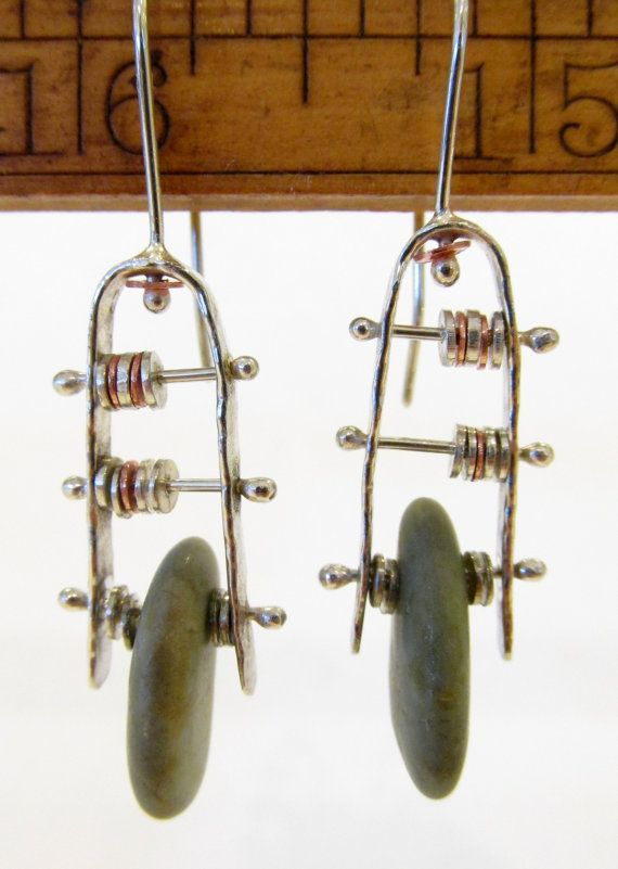 Earrings  Sterling Silver and Copper  Modernist by rmddesigns, $37.00
