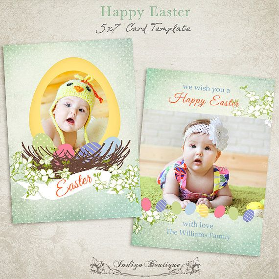 27 best Spring \/ Easter Photo Card Templates images on Pinterest - easter greeting card template