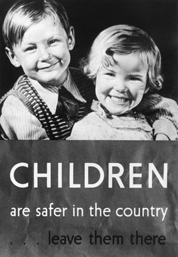 WW2 British poster encouraging evacuation of children from London to rural areas