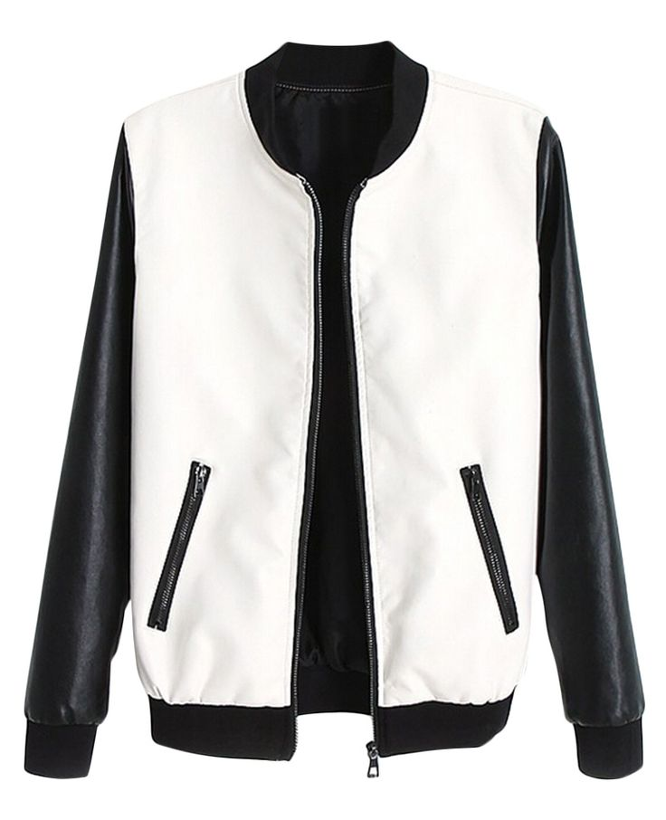 Color-block Long-sleeves Leather Jacket | BlackFive