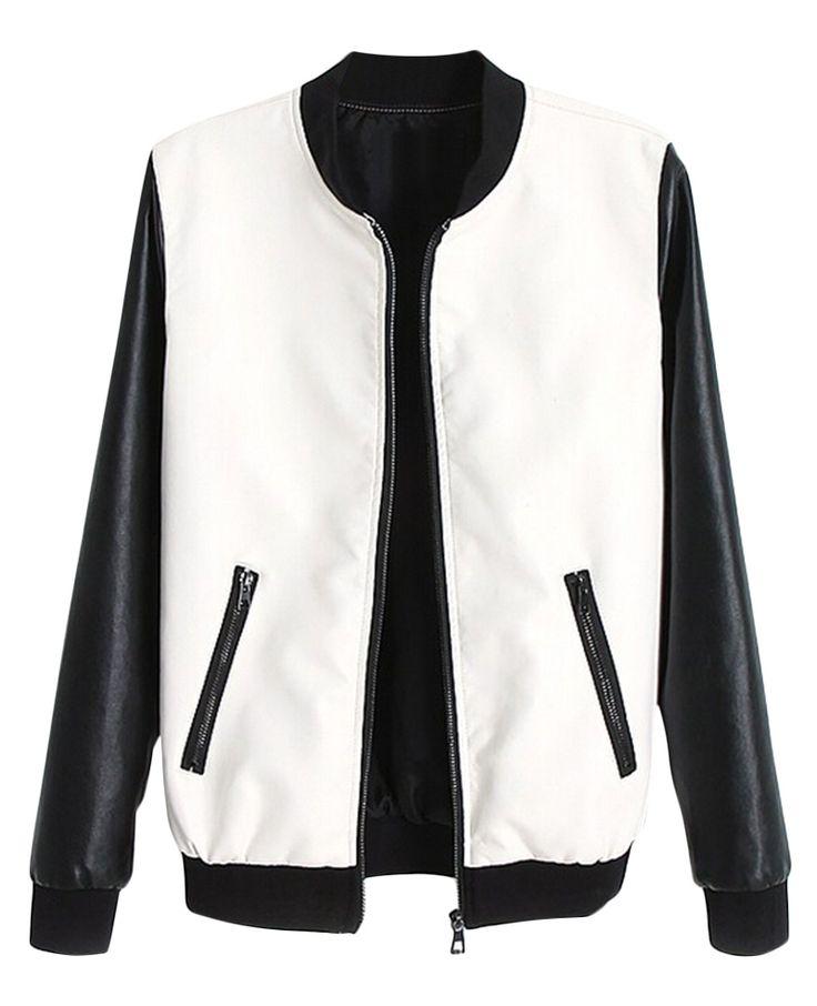 Color-block Long-sleeves Leather Jacket | BlackFive