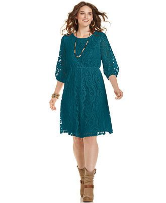 ING Plus Size Dress, Three-Quarter-Sleeve Lace - Junior Plus Sizes - Plus Sizes - Macy's