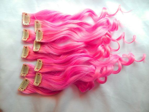HOT PINK 100% Human Hair Extensions : Double Wefted Clip In