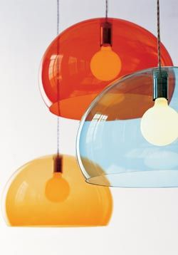 With a Panton-like playfulness, the FL/Y Lamp (2003) by Ferruccio Laviani is at once simple and dramatic in its scale and color. Made from color-tinted transparent vinyl polymer