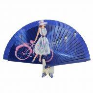 Abanico diseño vintage dama y bicicleta rosa