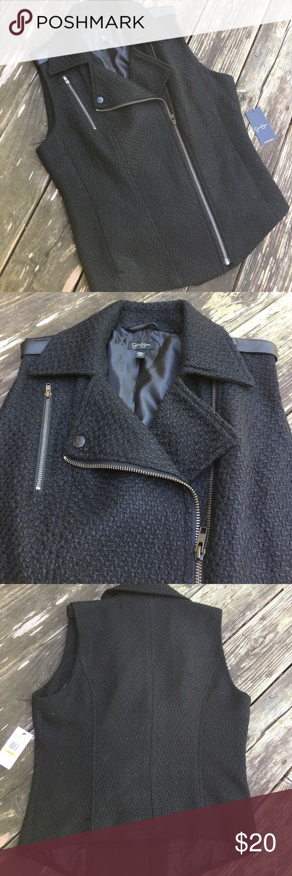 """Jessica Simpson """"Jamie"""" Tweed Moto Vest Cool tweed vest with a motorcycle-jacket look, works great zipped or unzipped with basically anything. NWT! Jessica Simpson Jackets & Coats Vests"""