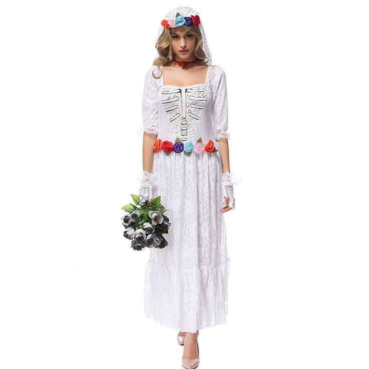 >> Click to Buy << Halloween party women costume Gothic Vampire Ghost Bride Costumes For Women  lace  white Zombie dress Cosplay Adult Funny Dress #Affiliate