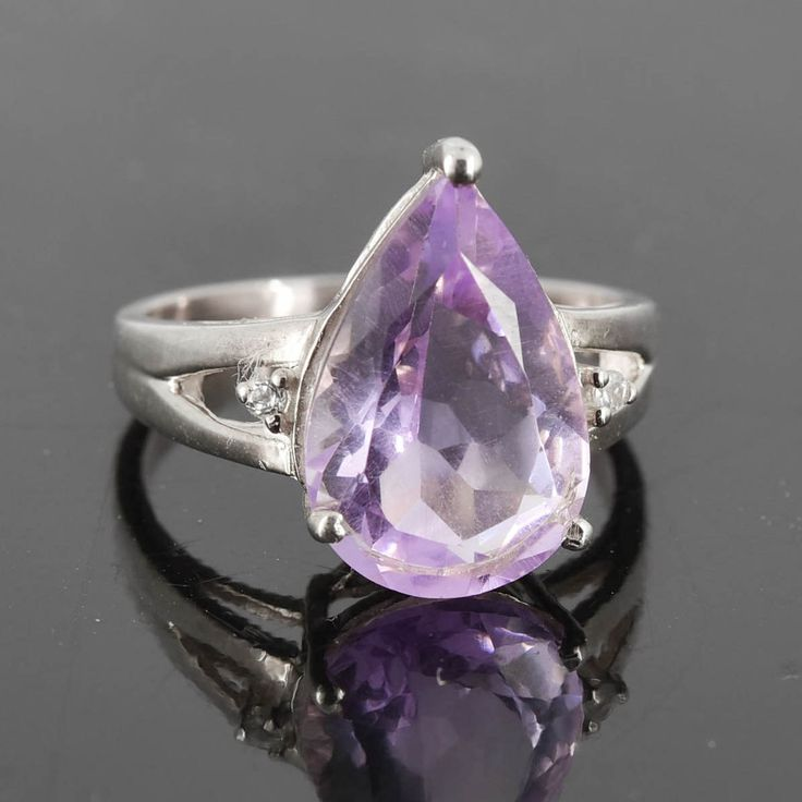Amethyst Ring, Purple, Teardrop, Birthstone Ring, February, Gemstone Ring, Sterling Silver Ring, Solitaire Ring, Statement Ring by JubileJewel on Etsy