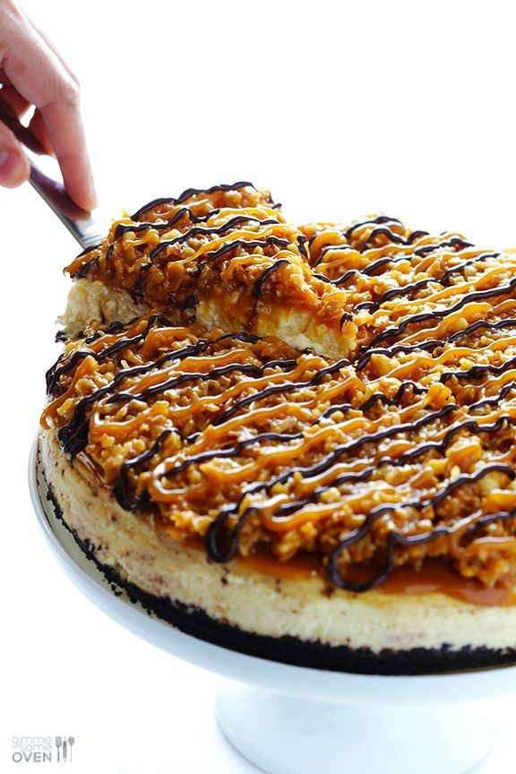 "Samoa Cheesecake This Samoa Cheesecake recipe is inspired by the famous Girl Scout cookies (a.k.a. ""Caramel DeLites"")...."